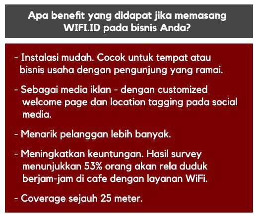 Benefit yang didapat jika memasang wifi.id pada bisnis Anda